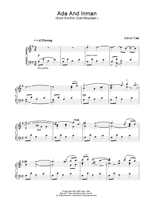Ada And Inman (from Cold Mountain) Sheet Music