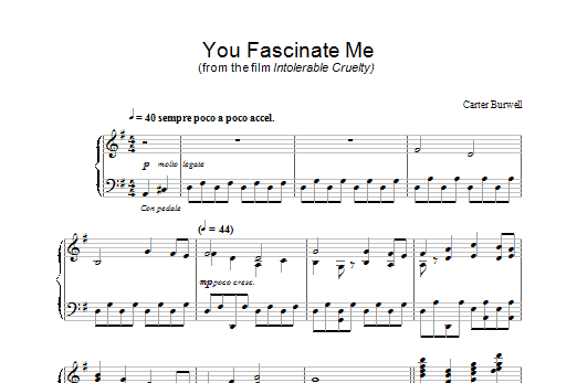 You Fascinate Me (from Intolerable Cruelty) Sheet Music