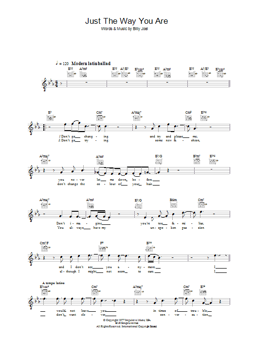 Just The Way You Are Sheet Music