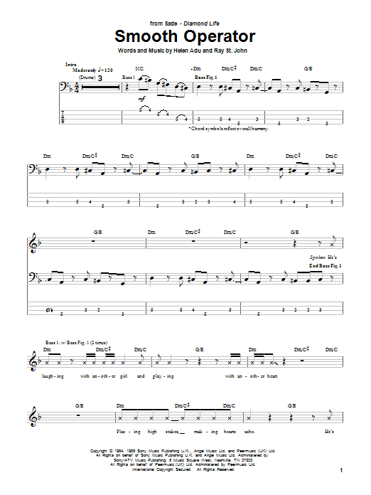 Tablature guitare Smooth Operator de Sade - Tablature Basse