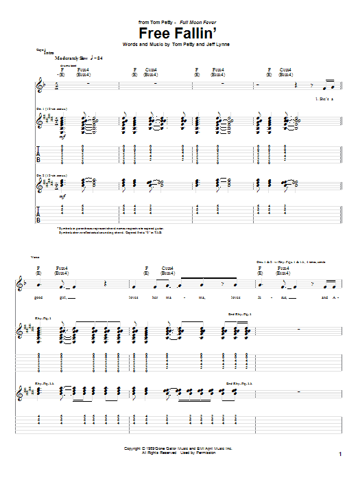 Free Fallin Sheet Music Tom Petty Guitar Tab