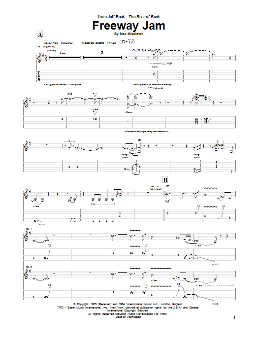 Tablature guitare Freeway Jam de Jeff Beck - Tablature Guitare