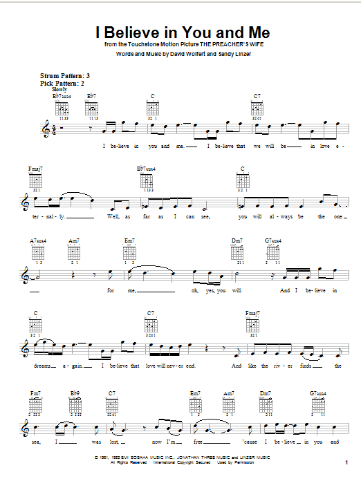 Tablature guitare I Believe In You And Me (from The Preacher's Wife) de The Four Tops - Autre