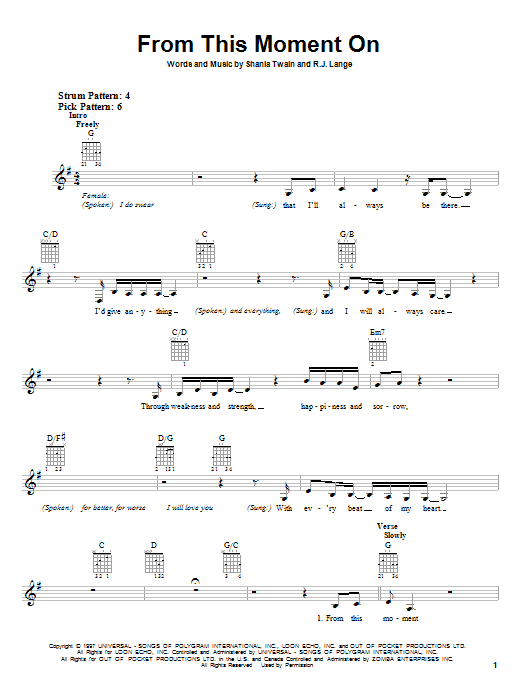 Tablature guitare From This Moment On de Shania Twain - Autre