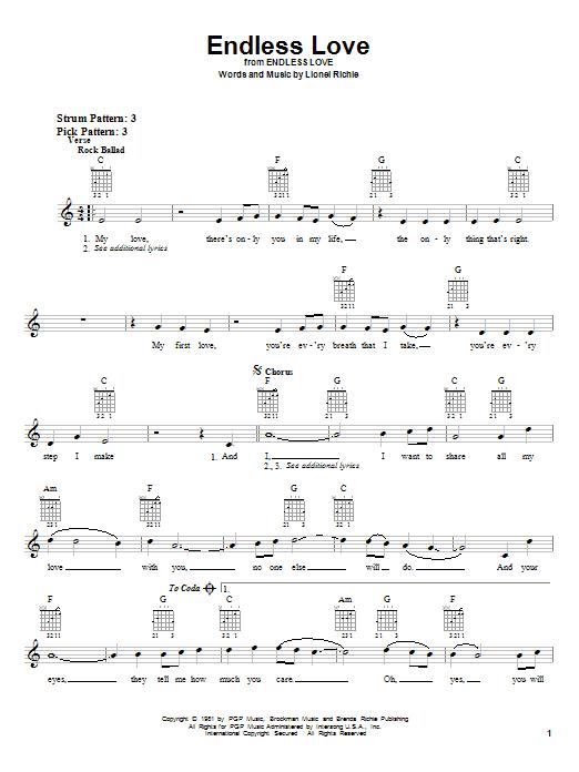 Tablature guitare Endless Love de Lionel Richie - Tablature guitare facile