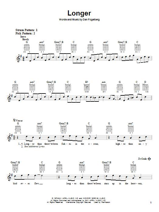 Tablature guitare Longer de Dan Fogelberg - Autre