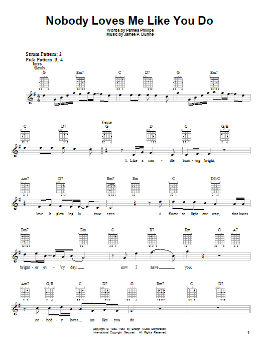 Nobody Loves Me Like You Do Sheet Music