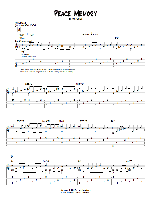 Tablature guitare Peace Memory de Pat Metheny - Tablature Guitare