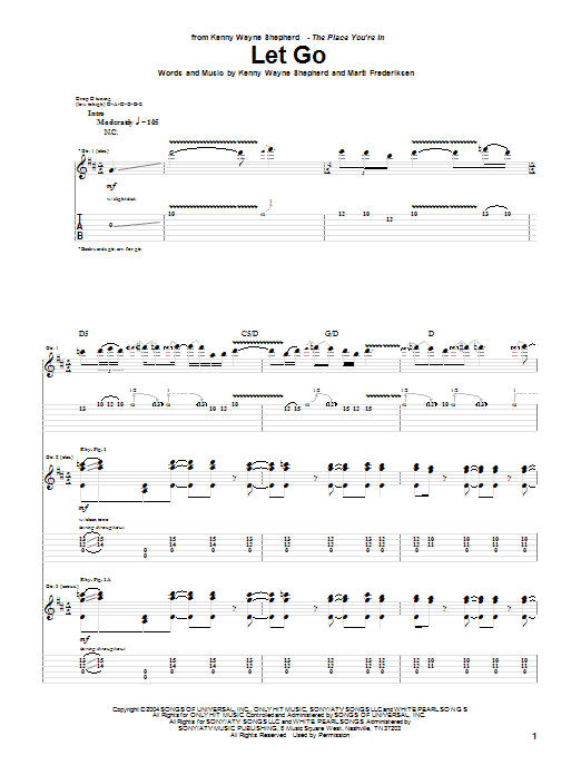 Tablature guitare Let Go de Kenny Wayne Shepherd - Tablature Guitare