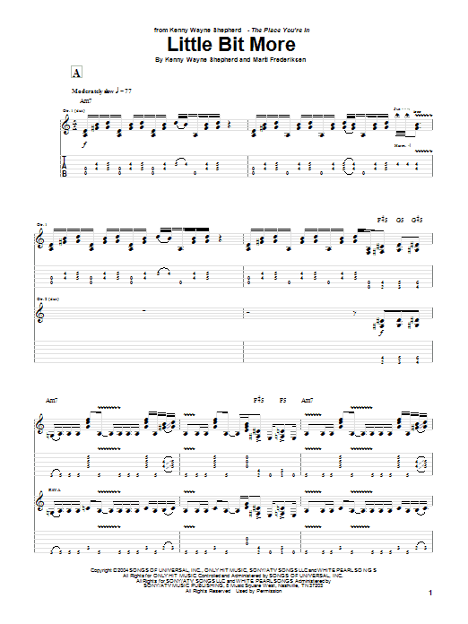 Tablature guitare Little Bit More de Kenny Wayne Shepherd - Tablature Guitare