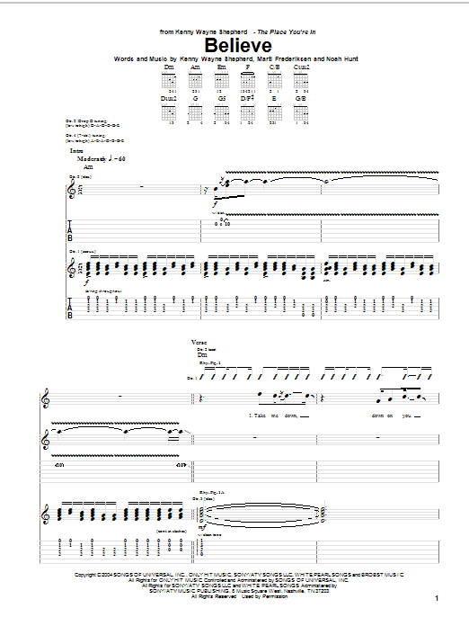Tablature guitare Believe de Kenny Wayne Shepherd - Tablature Guitare
