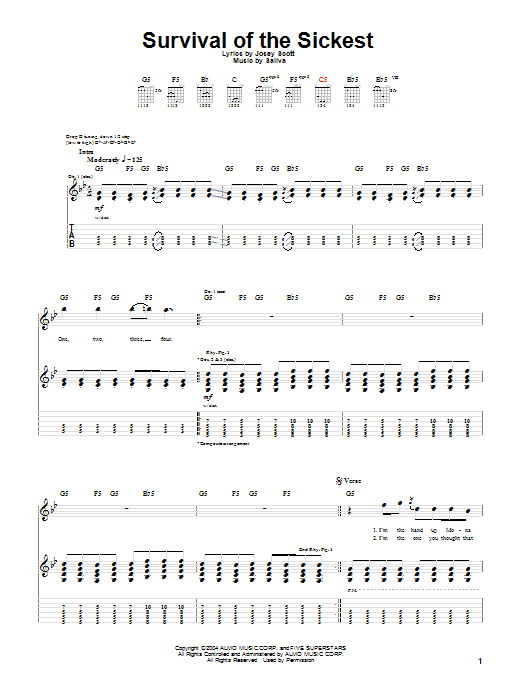 Tablature guitare Survival Of The Sickest de Saliva - Tablature Guitare