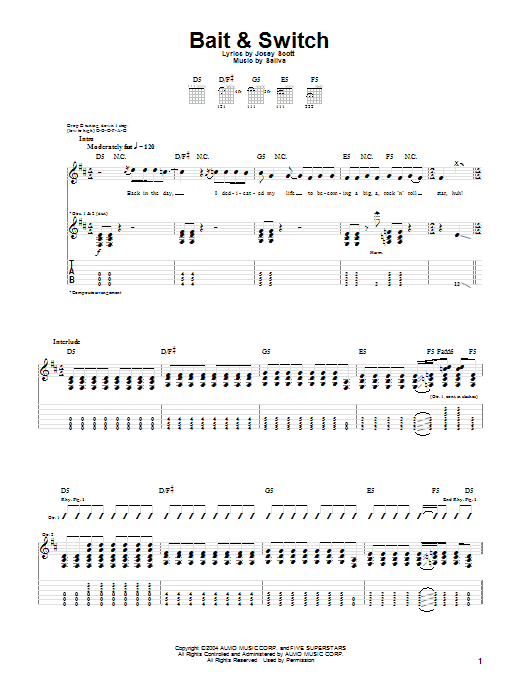 Tablature guitare Bait & Switch de Saliva - Tablature Guitare