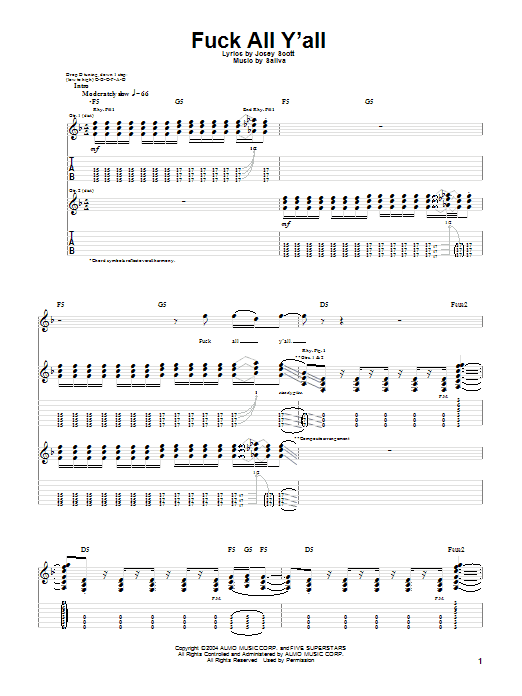 Tablature guitare Fuck All Y'all de Saliva - Tablature Guitare