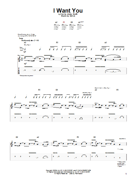 Tablature guitare I Want You de Saliva - Tablature Guitare
