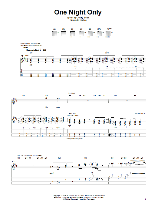 Tablature guitare One Night Only de Saliva - Tablature Guitare