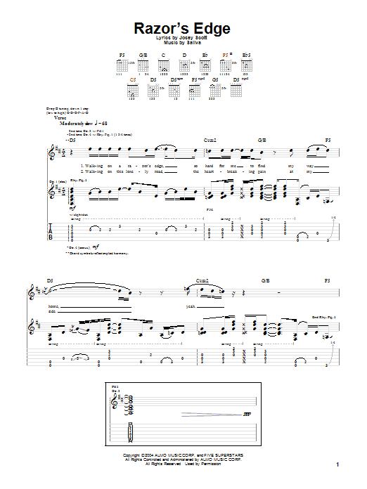 Tablature guitare Razor's Edge de Saliva - Tablature Guitare