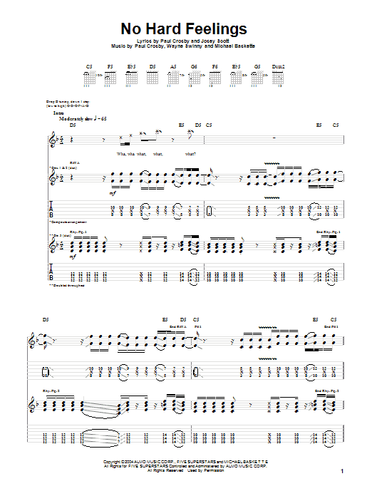 Tablature guitare No Hard Feelings de Saliva - Tablature Guitare