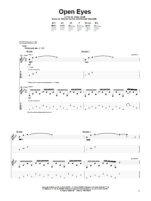 Open Eyes Sheet Music