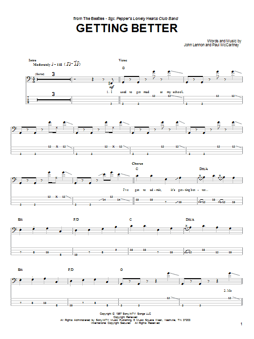 Getting Better Sheet Music