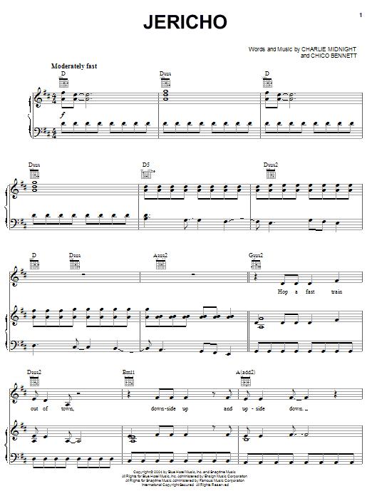 Partition piano Jericho de Hilary Duff - Piano Voix Guitare (Mélodie Main Droite)