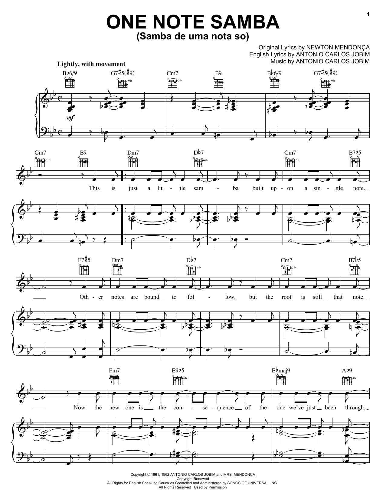 One Note Samba (Samba De Uma Nota So) Sheet Music