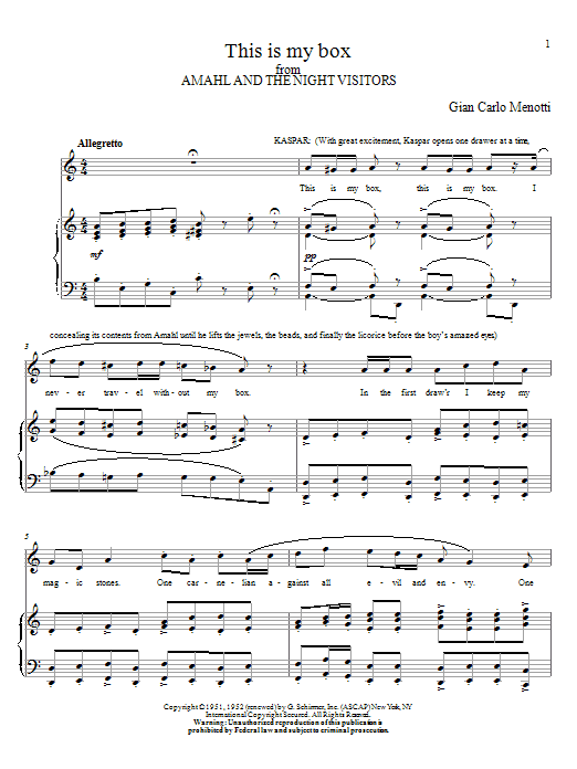 This Is My Box Sheet Music