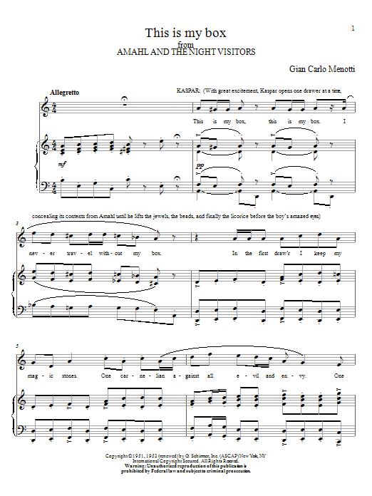 Partition piano This Is My Box de Gian Carlo Menotti - Piano Voix Guitare (Mélodie Main Droite)