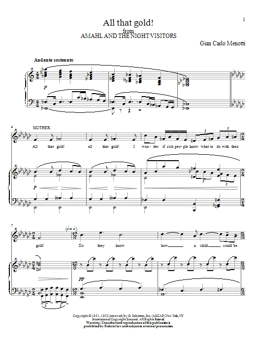 Partition piano All That Gold! de Gian Carlo Menotti - Piano Voix Guitare (Mélodie Main Droite)