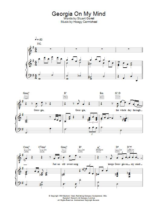 Georgia On My Mind (Piano, Vocal & Guitar)