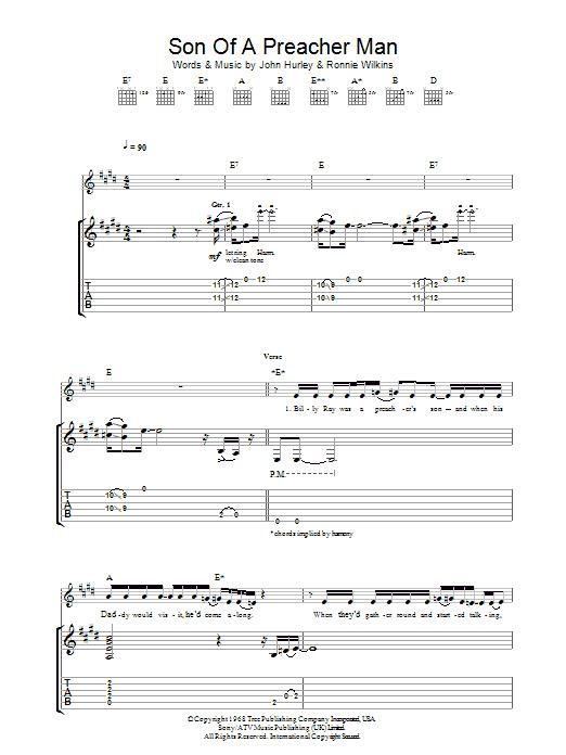 Son Of A Preacher Man by Dusty Springfield - Guitar Tab - Guitar ...