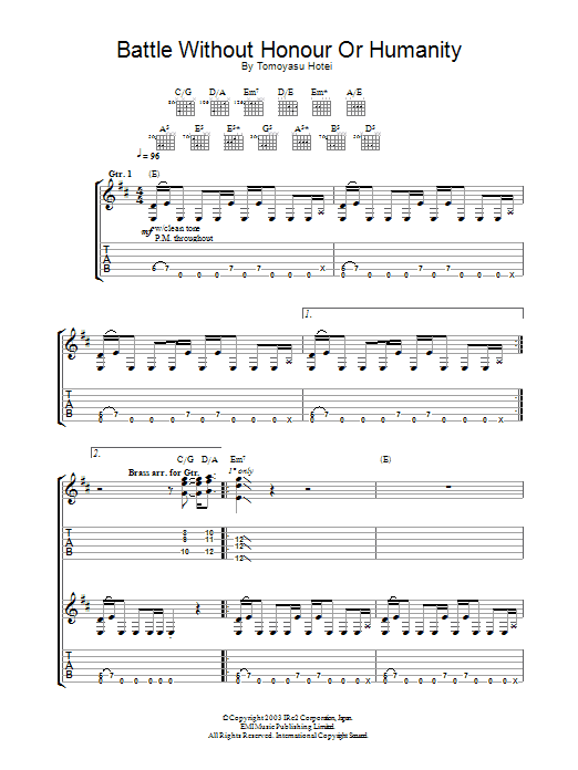 Battle Without Honor Or Humanity (Guitar Tab)