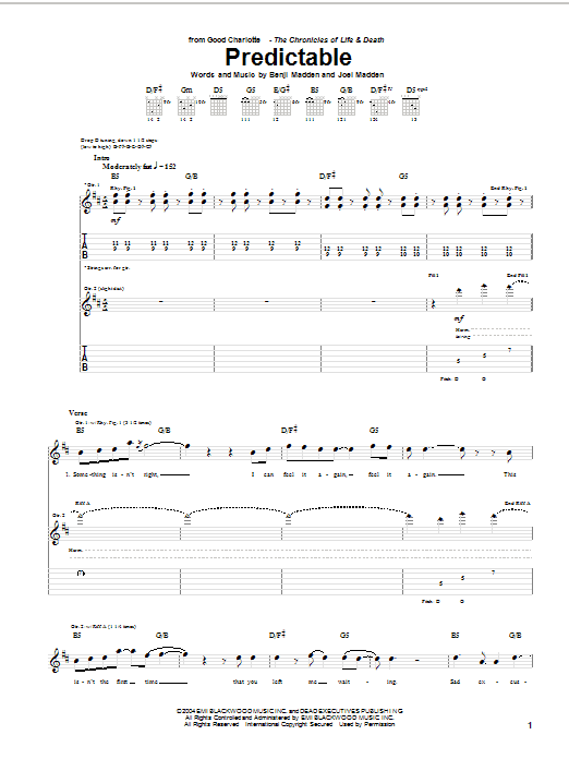 Tablature guitare Predictable de Good Charlotte - Tablature Guitare