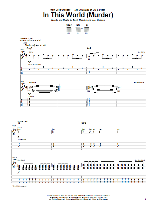 Tablature guitare In This World (Murder) de Good Charlotte - Tablature Guitare