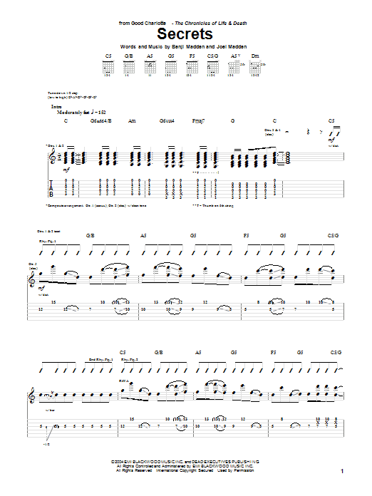 Tablature guitare Secrets de Good Charlotte - Tablature Guitare