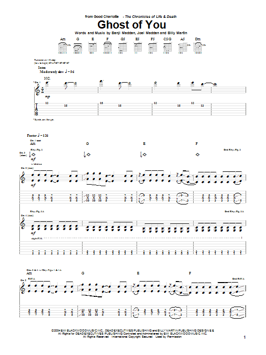 Tablature guitare Ghost Of You de Good Charlotte - Tablature Guitare