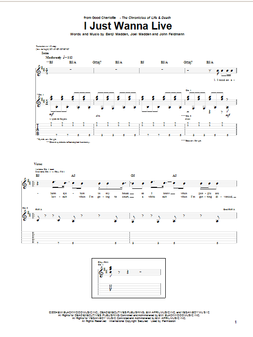Tablature guitare I Just Wanna Live de Good Charlotte - Tablature Guitare