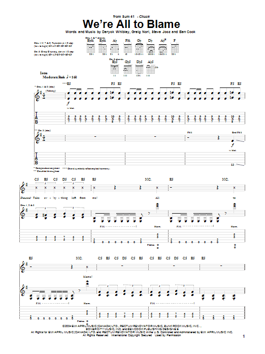 Tablature guitare We're All To Blame de Sum 41 - Tablature Guitare