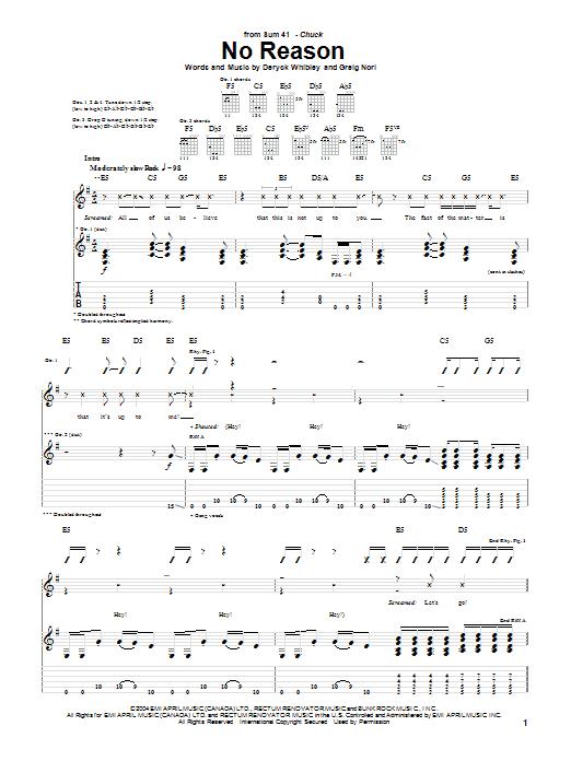 Tablature guitare No Reason de Sum 41 - Tablature Guitare