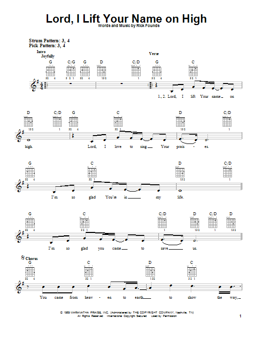 Lord, I Lift Your Name On High | Sheet Music Direct