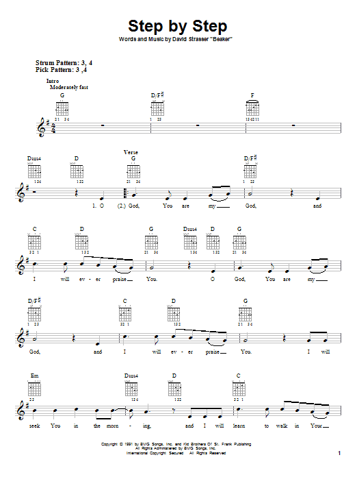 Tablature guitare Step By Step de Rich Mullins - Tablature guitare facile