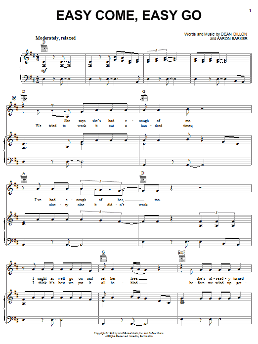 Easy Come, Easy Go (Piano, Vocal & Guitar (Right-Hand Melody))