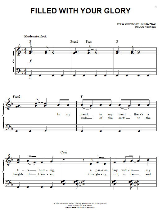 Filled With Your Glory (Easy Piano)