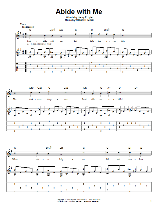 Abide With Me Henry F Lyte Guitar Tab