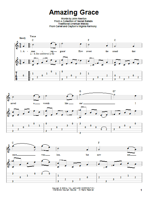 Tablature guitare Amazing Grace de John Newton - Tablature Guitare