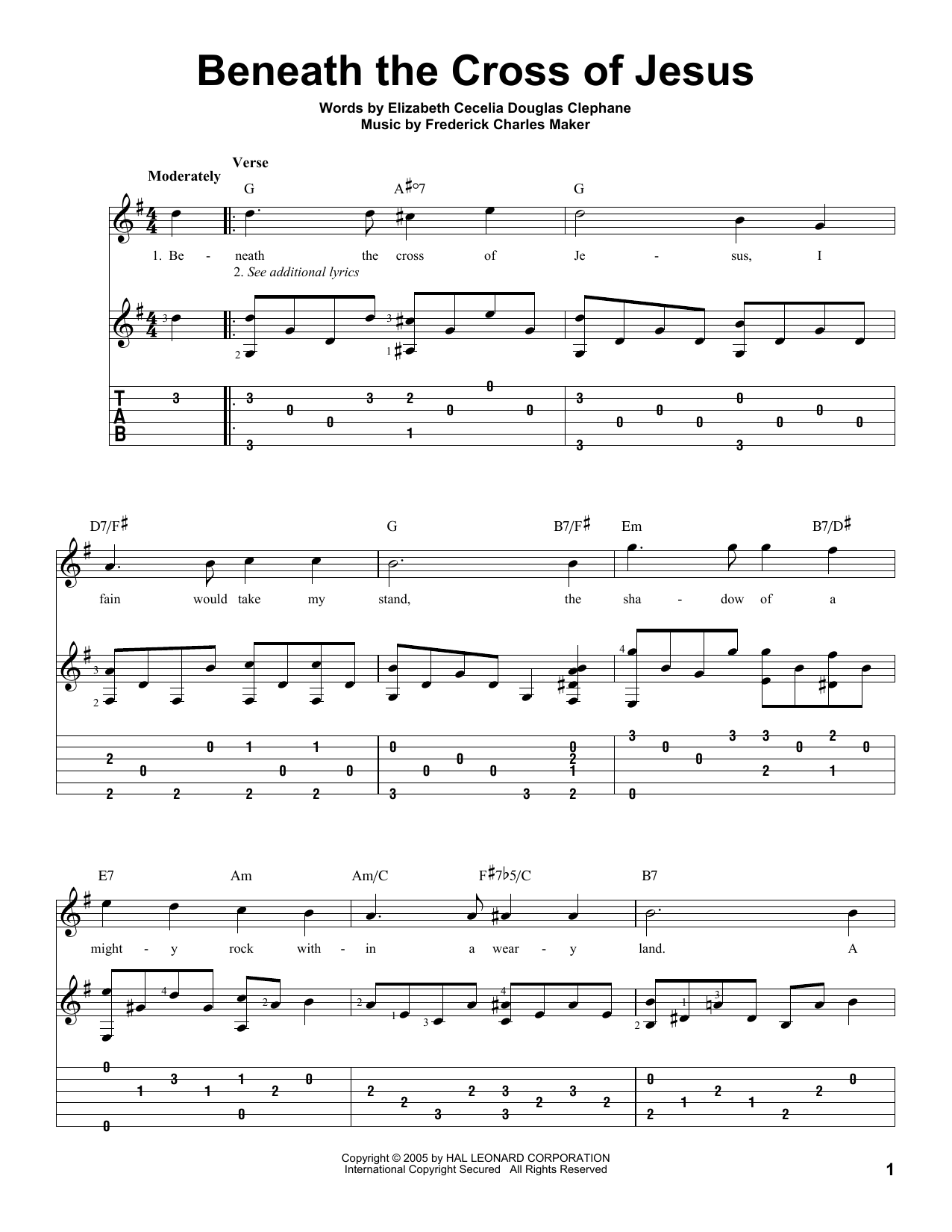 Tablature guitare Beneath The Cross Of Jesus de Elizabeth Cecilia Dou Clephane - Tablature Guitare