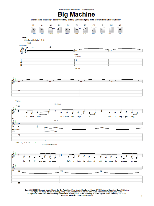 Tablature guitare Big Machine de Velvet Revolver - Tablature Guitare