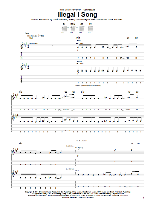 Tablature guitare Illegal I Song de Velvet Revolver - Tablature Guitare