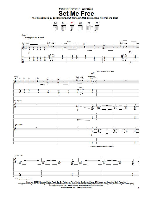 Tablature guitare Set Me Free de Velvet Revolver - Tablature Guitare
