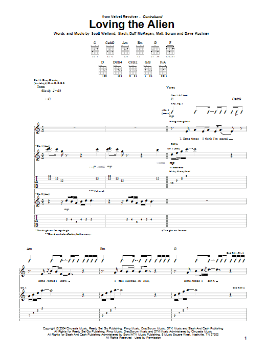Tablature guitare Loving The Alien de Velvet Revolver - Tablature Guitare